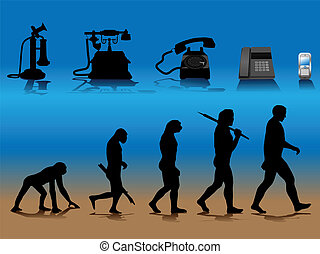 phone evolution - Vector conceptual illustration comparing...