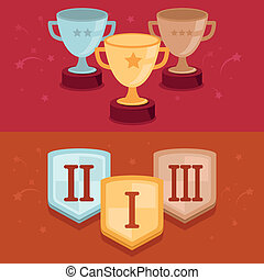 vector, concurso, banderas, en, plano, estilo, -, ganadores