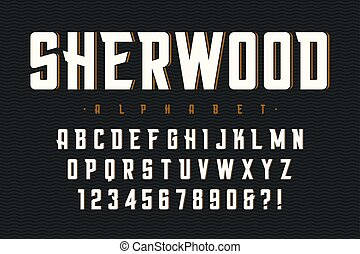 Vector condensed original display font design, alphabet, character set