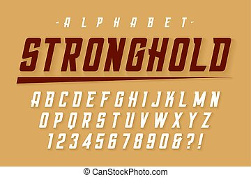 Vector condensed strong display font design, alphabet, character set