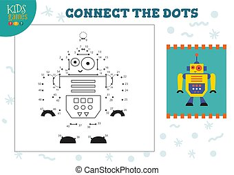 vector, conectar, puntos, juego, niños, ilustración