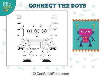 vector, conectar, puntos, mini, juego, niños, ilustración