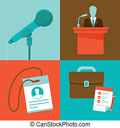 Vector conference concepts in flat style - Vector conferenc...