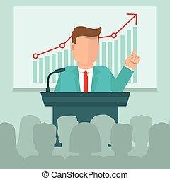 vector, conferencia negocio, concepto, en, plano, estilo