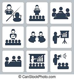 vector, conferencia, reunión, iconos, conjunto
