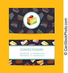 vector, confitería, cocina, o, pastel, tienda