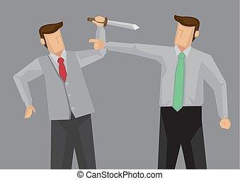 vector, confrontación, feo, ilustración