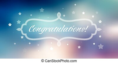 Vector congratulations banner on blue abstract background.