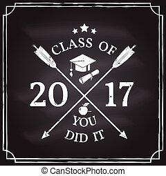 Vector Congratulations graduates Class of 2017 badge....