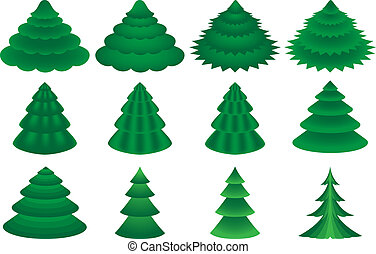 vector conifers - collection of various conifers on white...