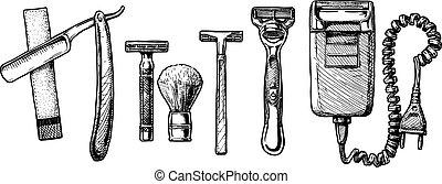 vector, conjunto, accesorios, viruta, ilustración