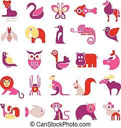 vector, Conjunto,  animal, icono
