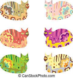 vector, conjunto, animales, caricatura, gato