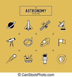 vector, conjunto, astronomía, icono