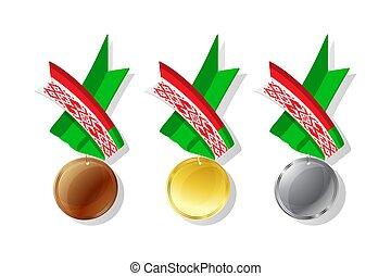 vector, conjunto, belarusian, medallas
