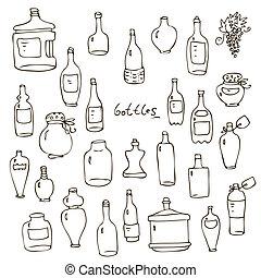 vector, conjunto, botellas