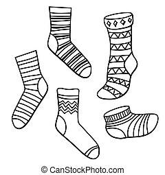vector, conjunto, calcetines