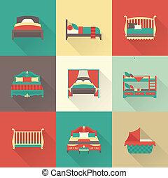 vector, conjunto, cama, icono
