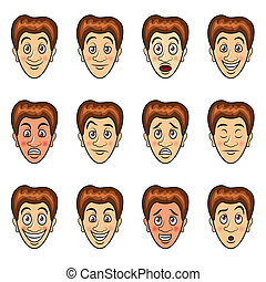 vector, conjunto, caricatura, emociones, hombre