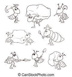 vector, conjunto, caricatura, hormigas