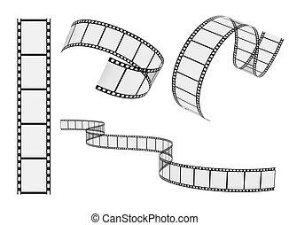 vector, conjunto, carrete, película