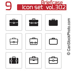 vector, conjunto, cartera negra, iconos