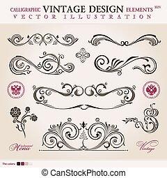 vector, conjunto, classic., calligraphic, diseñe elementos, ornamento, decoración