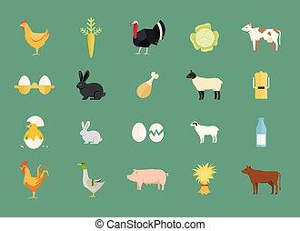 vector, conjunto, colorido, productos de la granja, animales