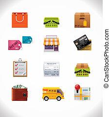 vector, conjunto, compras, icono