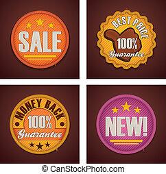 vector, conjunto, compras, insignias