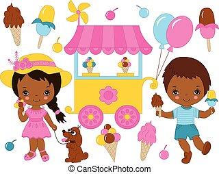 vector, conjunto, con, lindo, poco, americano africano, niños, teniendo, helado, fiesta
