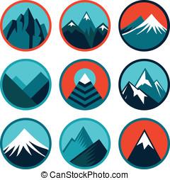 vector, conjunto, con, resumen, logotipos, -, montañas