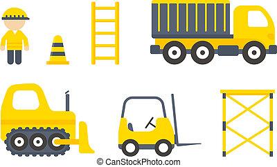vector, conjunto construcción, máquinas