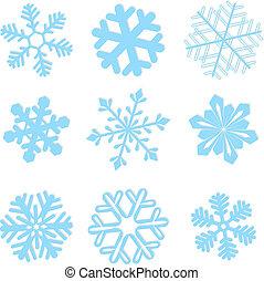 vector, conjunto, copo de nieve, ilustración, invierno