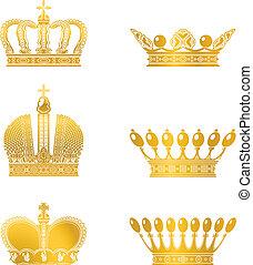 vector, conjunto, coronas