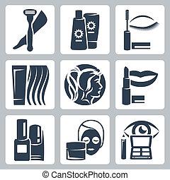 vector, conjunto, cosmetología, aislado, iconos