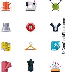 vector, conjunto, costura, icono
