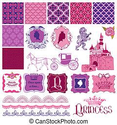 vector, conjunto, -, cumpleaños, diseño, álbum de recortes, niña, princesa, elementos