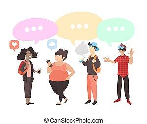 vector, conjunto, de, adolescentes, con, gadgets., plano, estudiantes, con, diálogo, discurso, bubbles., adolescentes, con, diferente, intereses, discutir, social, network.