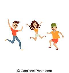 vector, conjunto, de, adolescentes, en, ropa casual, bailes