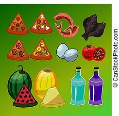 vector, conjunto, de, aislado, iconos del alimento