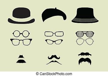 vector, conjunto, de, anteojos, bigote, y, sombreros