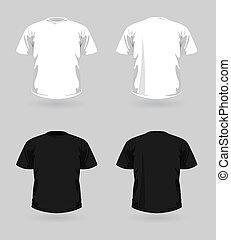 vector, conjunto, de, camisetas