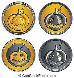 vector, conjunto, de, coins, en, halloween