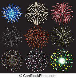 vector, conjunto, de, colorido, fuegos artificiales