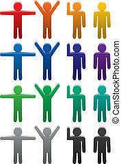 vector, conjunto, de, colorido, hombre, símbolos, en, vario, posturas