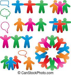 vector, conjunto, de, colorido, humano, y, discurso, símbolos