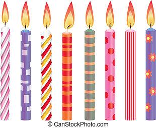 vector, conjunto, de, colorido, velas de cumpleaños