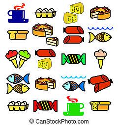 vector, conjunto, de, comida.