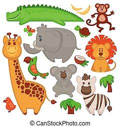 vector, conjunto, de, diferente, lindo, africano, animals.